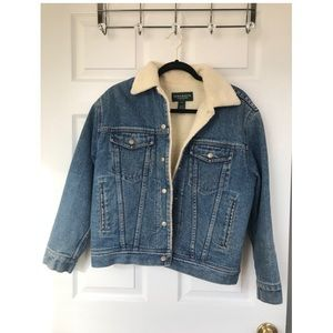 Ralph Lauren Faux Teddy Fur Lined Jean Jacket